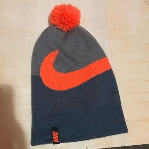 Nike Grey and Orange Beanie